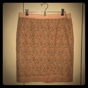 Pink Lace J. Crew Pencil Skirt